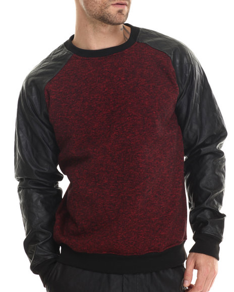 Buyers Picks - Men Red Faux - Leather Sleeve Fleece Crewneck Sweatshirt