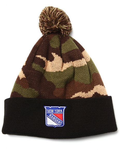 American Needle Men New York Rangers Camo Pom Knit Hat Camo