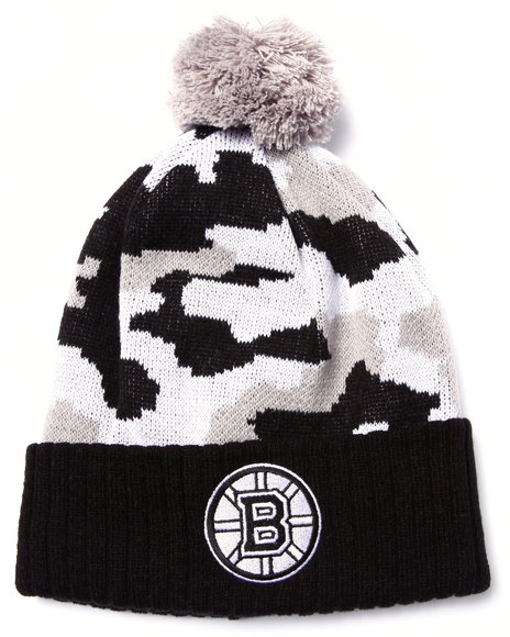 American Needle Men Boston Bruins Troop City Camo Cuff Knit Hat Black