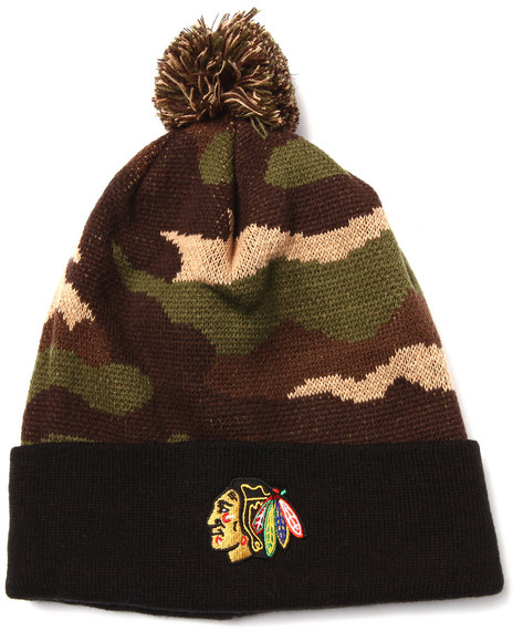 American Needle Men Chicago Blackhawks Camo Pom Knit Hat Camo