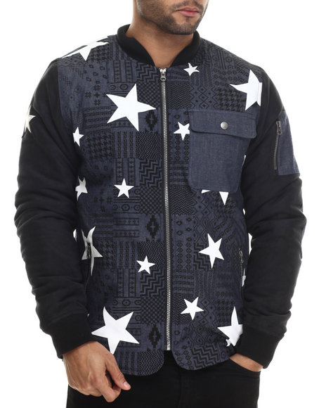 Buyers Picks - Men Blue Aztec / Star Printed Chambray Jacket W/ Faux Suede Sleeves