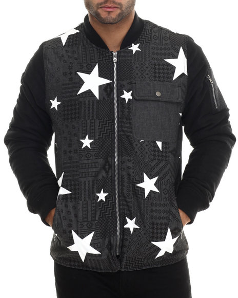 Buyers Picks - Men Grey Aztec / Star Printed Chambray Jacket W/ Faux Suede Sleeves