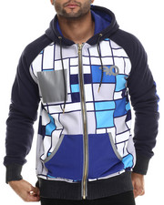 Hoodies - Diamond Quilted Fleece Sublimated Color Block Hoody