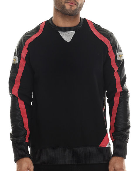 Ur-ID 213142 Frost Originals - Men Black French Terry Ostrich Quilted Faux Leather Sweatshirt