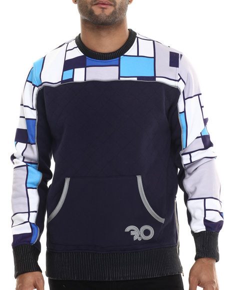 Ur-ID 213150 Frost Originals - Men Blue Diamond Quilted Sublimated Color Block Fleece Sweatshirt With Gold Zipper Detail