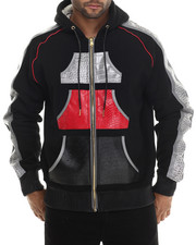 Men - Croc Embossed Faux Leather Zip Up Hoody with Reflective Material