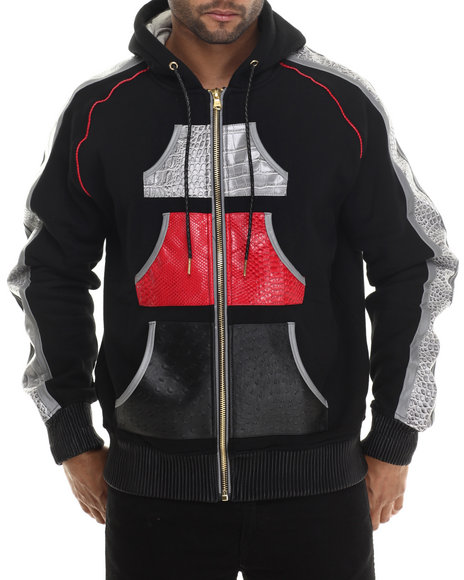 Ur-ID 213152 Frost Originals - Men Black Croc Embossed Faux Leather Zip Up Hoody With Reflective Material