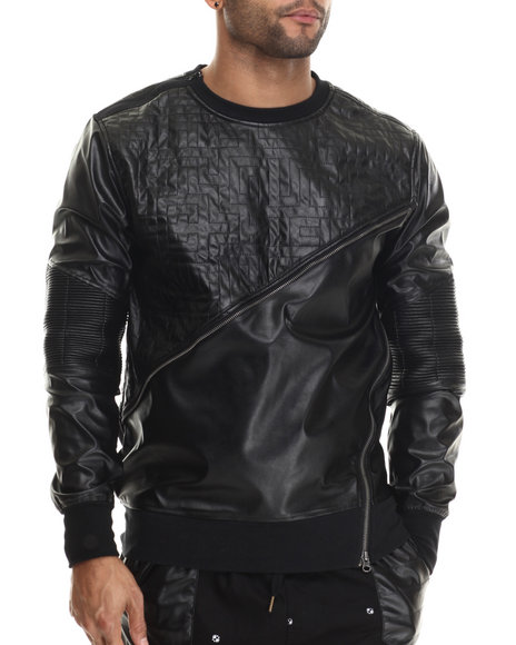 Buyers Picks - Men Black Fleece / Faux Leather Crewneck Sweatshirt W/ Zipper Trim