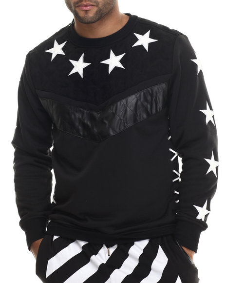 Buyers Picks - Men Black Chevron / Star Crewneck Sweatshirt W/ Faux Suede & Leather Trim