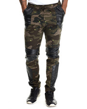 Men - Faux Leather / Zipper Trimmed Printed Twill Joggers