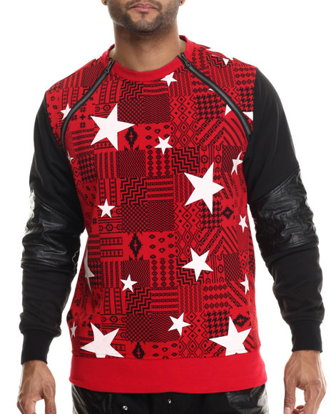 Buyers Picks - Men Red Aztec / Star Printed Lightweight Fleece Crewneck Sweatshirt W/ Zipper Trim
