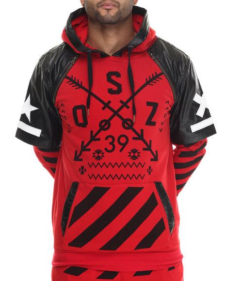 Buyers Picks - Men Red O S Z Layered Raglan - Sleeve Pullover Hoodie