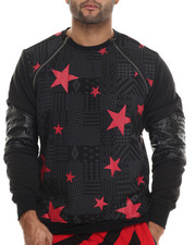 Men - Aztec / Star Printed Lightweight Fleece Crewneck Sweatshirt W/ Zipper Trim