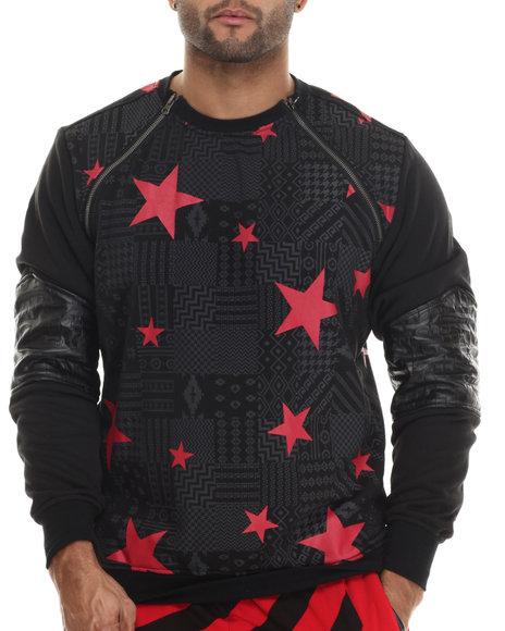 Buyers Picks - Men Black Aztec / Star Printed Lightweight Fleece Crewneck Sweatshirt W/ Zipper Trim