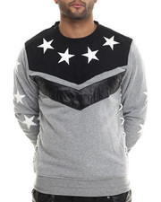 Men - Chevron / Star Crewneck Sweatshirt W/ Faux Suede & Leather Trim