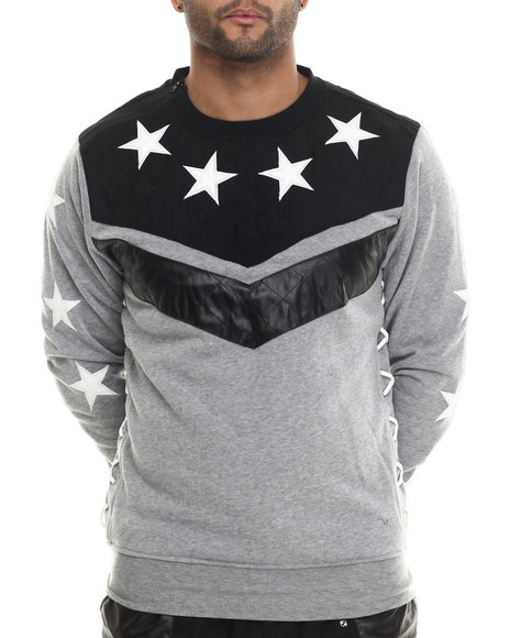 Buyers Picks - Men Grey Chevron / Star Crewneck Sweatshirt W/ Faux Suede & Leather Trim