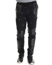 Buyers Picks - Faux Leather / Zipper Trimmed Printed Twill Joggers