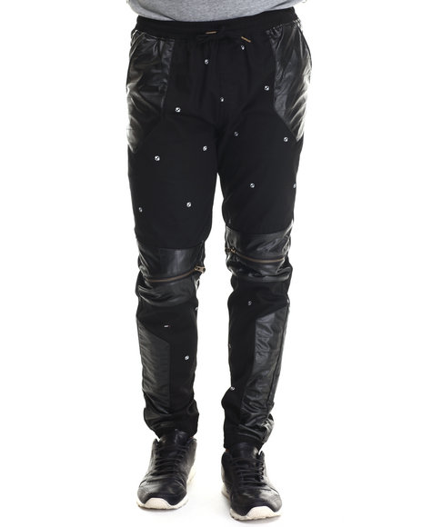 Buyers Picks - Men Black Faux Leather / Zipper Trimmed Printed Twill Joggers