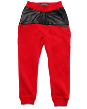Sweatpants - Faux Leather & Mesh Sweat Pants (4-7)
