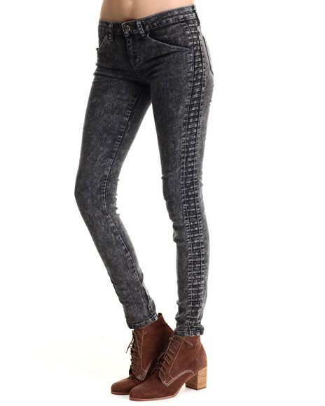 Basic Essentials - Women Dark Blue Tapered Side Moto Track Skinny Jean