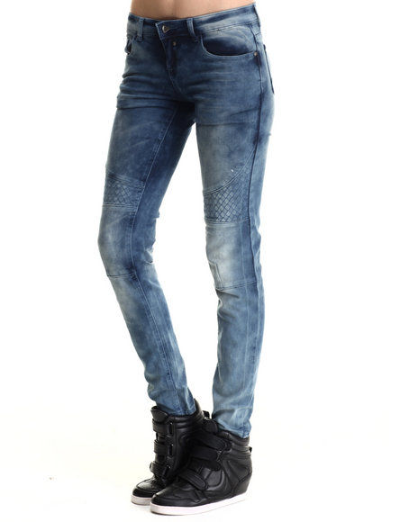 Basic Essentials - Women Blue Quilted Moto Skinny Jean