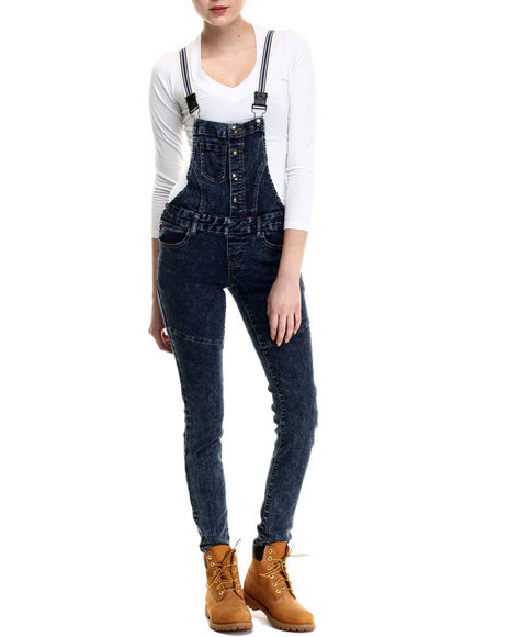 Basic Essentials - Women Dark Wash Striped Suspenders Denim Overalls