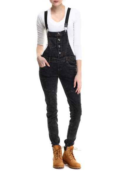 Basic Essentials - Women Black Striped Suspenders Denim Overalls