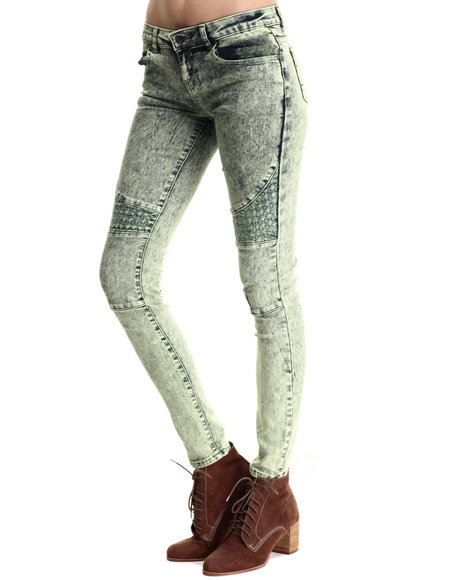 Basic Essentials - Women Green Quilted Moto Skinny Jean
