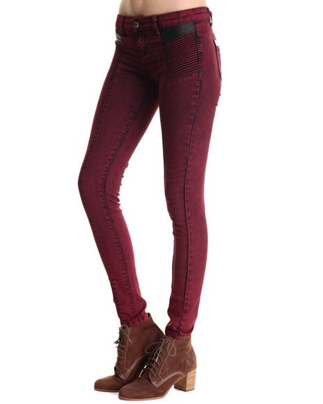 Basic Essentials - Women Maroon Vegan Leather Detail Moto Skinny Jean