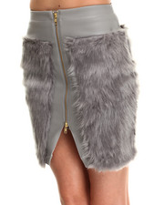 Skirts - Candy Faux Fur Front Zip Skirt
