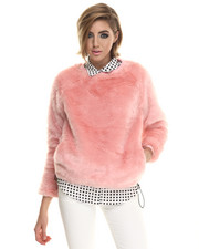 Sweatshirts - Candy Faux Fur Crew