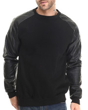 Men - Faux - Leather Sleeve Fleece Crewneck Sweatshirt
