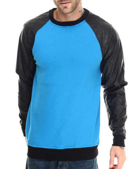 Ur-ID 213194 Buyers Picks - Men Teal Faux Leather Sleeve With Quilted Detail Crewneck Sweatshirt