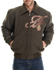Men - Badge Royal Wool & Leather detailed Jacket