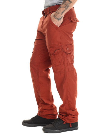 Basic Essentials - Men Red Military - Style Canvas Cargo Pants