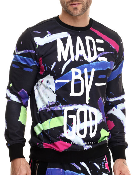 Bass By Ron Bass - Men Black Made By God Crewneck Sweatshirt