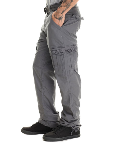 Basic Essentials - Men Grey Military - Style Canvas Cargo Pants