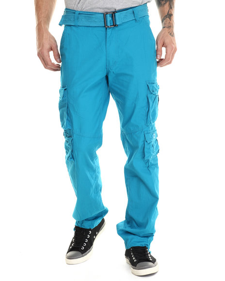 Basic Essentials - Men Teal Multi - Pocket Canvas Cargo Pants