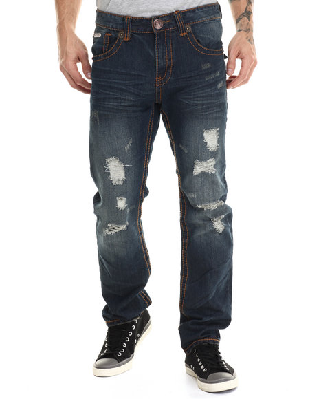 Parish - Men Dark Wash Flap Pocket Stiched Denim