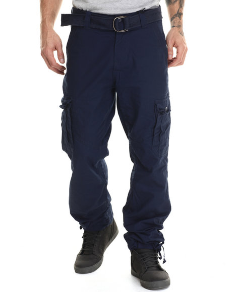 Basic Essentials - Men Navy Military - Style Canvas Cargo Pants - $42.00