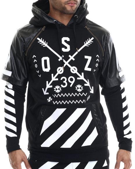 Buyers Picks - Men Black O S Z Layered Raglan - Sleeve Pullover Hoodie