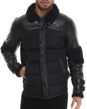 Heavy Coats - Stomb Faux Leather - Trimmed Quilted Jacket