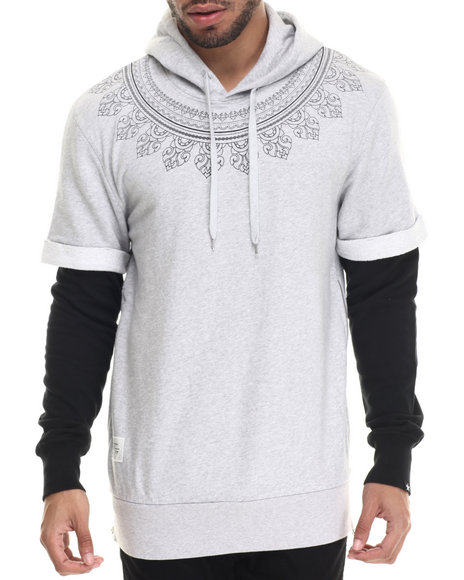Two Angle Clothing - Men Grey Tindyl Layered Hoodie