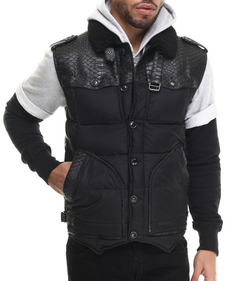 Ur-ID 213213 Two Angle Clothing - Men Black Tol Quilted Vest