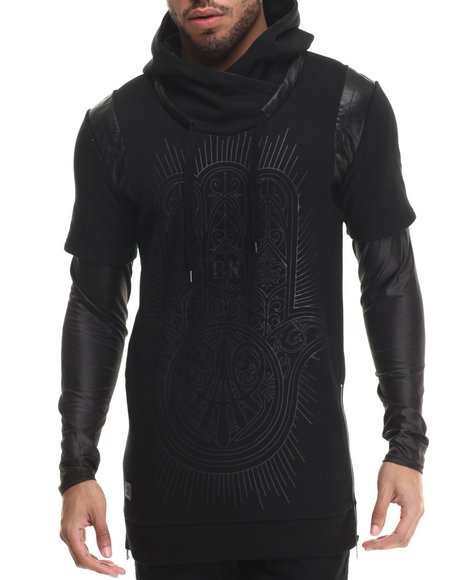 Black Kaviar - Men Black Saverock Faux - Leather Trimmed Graphic Sweatshirt