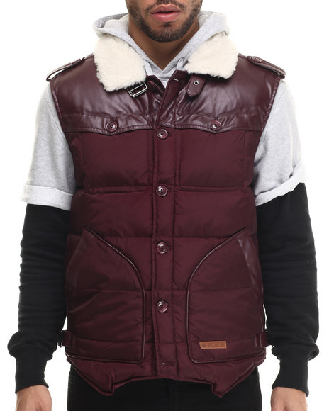 Two Angle Clothing - Men Maroon Tol Quilted Vest