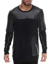 Men - Shawn Faux Leather - Trimmed Sweatshirt