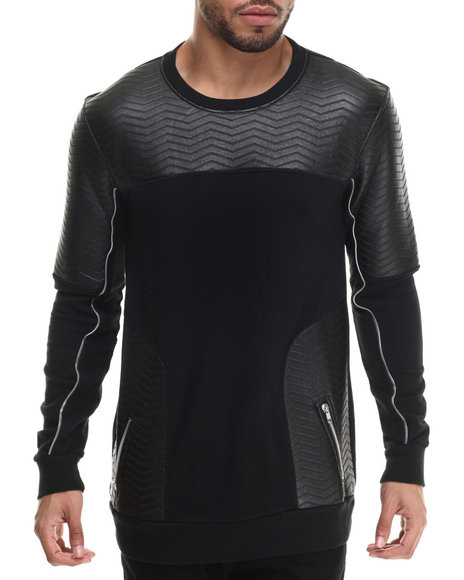 Black Kaviar - Men Black Shawn Faux Leather - Trimmed Sweatshirt - $128.00