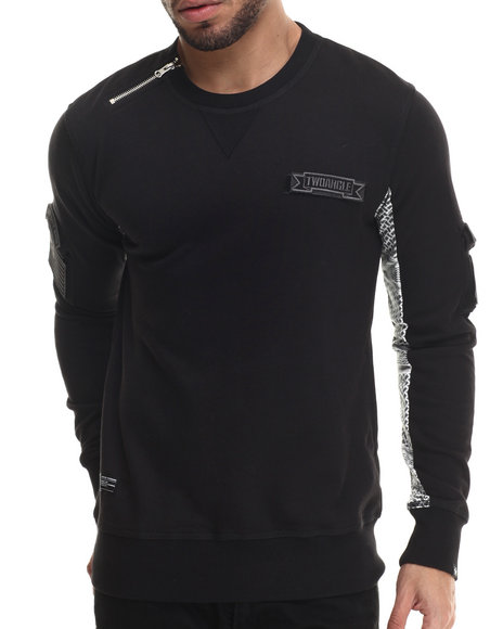 Two Angle Clothing - Men Black T - Da Contrast - Sleeve Crewneck Sweatshirt