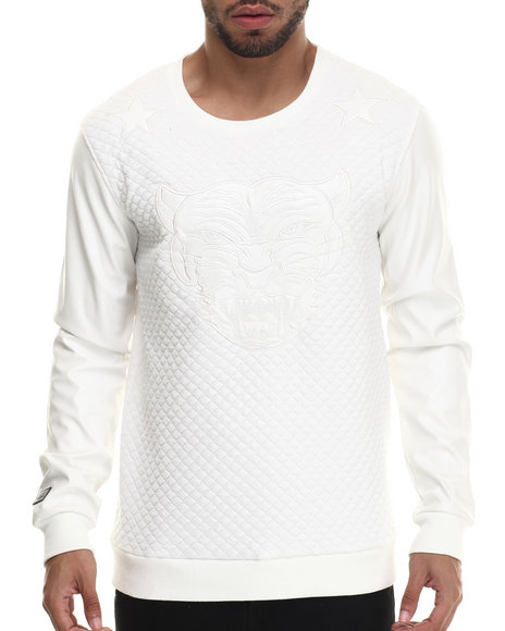 Black Kaviar - Men White Sazam Quilted Sweatshirt - $100.99
